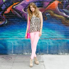 Check out Pink Panther Look by Iris, Cello Jeans and Vintage  at DailyLook