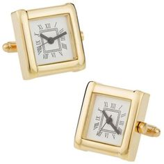 Take the watch off your wrist and put these amazing Cuff-Daddy Elegant Gold Watch Cufflinks on your sleeves. These miniature clock cufflinks are made of yellow gold polished to a mirror-like finish for an exquisitely formal look. Army Watches, Watches For Men, Casual Watches, Digital Sports Watch, Watch Cufflinks, Expensive Watches, Italian Jewelry, Beautiful Watches, Square Watch