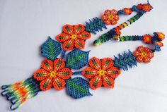Mexican Huichol Beaded flower necklace by Aramara on Etsy Nativity Crafts, Native American Beadwork, Beading Techniques, Beaded Jewelry, Beaded Necklaces, Jewellery, Beading Projects, Loom Beading, Flower Necklace