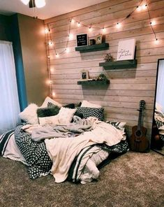 dream rooms for adults ; dream rooms for women ; dream rooms for couples ; dream rooms for adults bedrooms ; dream rooms for girls teenagers Comfy Bedroom, Bedroom Inspo, Dream Bedroom, Bedroom Themes, Diy Bedroom, Wooden Wall Bedroom, Warm Cozy Bedroom, Modern Bedroom, Trendy Bedroom