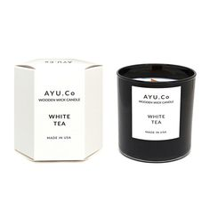 White Tea Wooden Wick Candle  In a signature hexagonal by AYUCoUSA