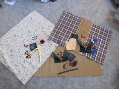 Dimentia/Alzheimer's Fidget Lap Quilts are focused on textures and hand/mind occupation.  Each Fidget Quilt has a wonderfully soft square of fabric fur on it.  The other items we rotate and choose to fit with the person's past and memories.