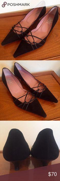 Ursula Mascaro Black Suede Lace Up Kitten Heels Made in Spain Ursula Mascaro Shoes Heels