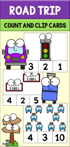 If your family is going to go for a road trip anytime soon, then this Car Road Trip Count and Clip Cards is perfect to persuade them to do some counting from nu Transportation Theme Preschool, Preschool Themes, Kindergarten Activities, Preschool Activities, Toddler Preschool, Numbers Preschool, Preschool Class, Learning Numbers, Educational Activities