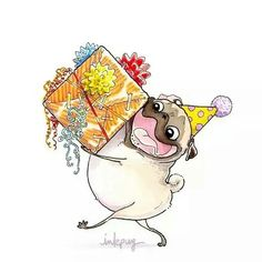 """Get terrific pointers on """"pugs"""". They are accessible for you on our site. Happy Birthday Pug, Happy Birthday Animals, Art Birthday, Animal Birthday, Funny Birthday, Pug Diy, Happy Birthday Illustration, Pug Cartoon, French Bulldog Blue"""