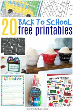 Cool, practical and all free. 20 back to school printables including first day of school signs, interviews, cupcake wrappers and lunchbox notes.