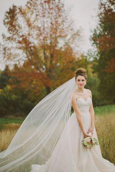Fall inspired bridal. Bride wearing a cathedral veil. high bun wedding hair
