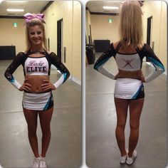"""1,064 Likes, 12 Comments - Everything Cheer Magazine (@everythingcheermagazine) on Instagram: """"New Cheer Extreme Lady Elite uniforms! Love the pink detail on the front."""""""
