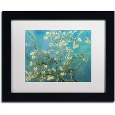 Trademark Fine Art Almond Branches Framed Canvas Art by Vincent van Gogh, Size: 11 x 14, Multicolor