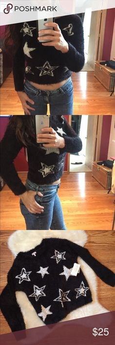 ❗️FINAL PRICE ❗️ Probably the softest thing ever!!! Black with stars, super soft and fuzzy sweater, by juicy couture, size L, new with tags, worn once to try on. Juicy Couture Sweaters