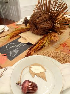 Thanksgiving Table Rustic Turkey Centerpiece made out of a stick pumpkin & dried sticks Easy DIY corrugated place cards madeinaday.com