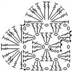 Hæklet hjerte diagram - og diagrammer til firkanter o.lign.