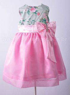 Vestido para festa infantil floral com rosa. Visite a loja online para conhecer a coleção completa: http://anagiovanna.com.br/produtos/1/vestidos-infantil/2/festas