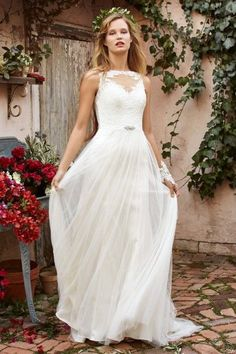 Bohemian Wedding Dress Illusion Neck Tattoo Lace Available At