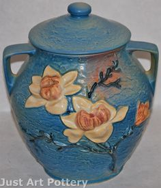 Roseville Pottery Magnolia Blue Cookie Jar 2-8 from Just Art Pottery