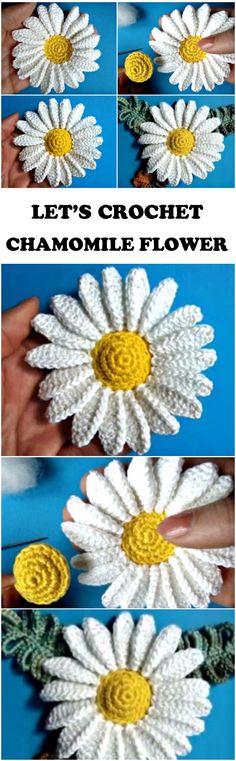 Crochet Chamomile Flower Step By Step - ilove-crochet Form Crochet, Crochet World, Crochet Flower Patterns, Crochet Motif, Crochet Flowers, Crochet Stitches, Crochet Gifts, Diy Crochet, Yarn Crafts