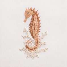 Seahorse NaturalHand Towel - White Cotton – Henry Handwork