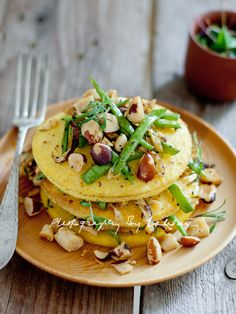 polenta pancakes (not sure my kids would like the toppings they picked but yummy looking to me!)