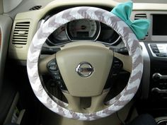 Weathered Grey Chevron Steering Wheel Cover with bow by BeauFleurs