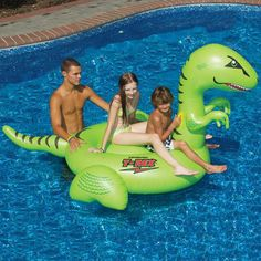 The huge Swimline T-Rex Ride On Pool Float has room enough for two riders and is fun for both kids and adults. This riding pool float is made of heavy-duty vinyl. Swimline item # Swimline T-Rex Ride On. Inflatable Pool Toys, Inflatable Float, Giant Inflatable, Giant Dinosaur, Dinosaur Party, Cool Pool Floats, Sport Pool, Pool Rafts, Water Floaties