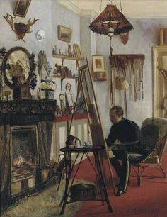 Portrait of Captain Fisher at His Easel 1881 - John Lavery - (Irish: 1856-1941)