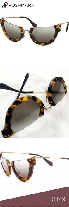 Miu Miu half rim Sunglasses  As UNIQUE as it gets  Authentic Miu Miu; pre-loved gently; no original case, however It will come in a nice case of course;  this is a Gorgeous pair of Stylish shades!!!!  If you are a kinda lady who isn't afraid to make a statement, this is Your Pair of Shades to Rock Miu Miu Accessories Sunglasses