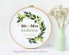 Wedding Cross Stitch Patterns, Modern Cross Stitch Patterns, Pattern Designs, Print Patterns, Alphabet And Numbers, Cross Stitching, Wedding Gifts, Ann, Etsy