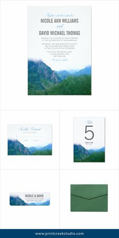 Modern watercolor mountain wedding invitation suite. An elegant design perfect for a destination mountain wedding.