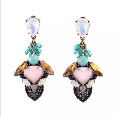 Multi stone statement earrings Resin, rhinestone and metal , not name brand , brand used as referenec Zara Jewelry Earrings