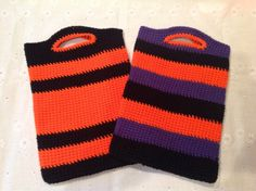 Crochet Halloween Trick or treat candy bag. Fun colors by ComfyNCozyBoutique on Etsy