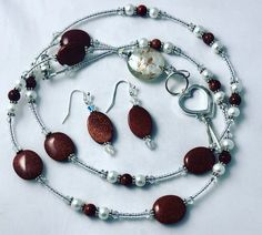 Excited to share the latest addition to my shop: Sandstone Crystal Pearl Handcrafted Beaded Lanyard and Earring Set Diy Mask, Diy Face Mask, Lanyard Necklace, Silver Jewelry Box, Beaded Lanyards, Fish Hook Earrings, Awareness Ribbons, Etsy Earrings, Earring Set