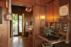 Arts & Crafts | Craftsman | A Bernard Maybeck-designed home, this North Berkeley residence, once known as the the Kennedy-Nixon house, was rebuilt in 1924 after the great Berkeley fire. The dining room flows into the breakfast area off the kitchen.