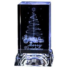 IFOLAINA 3d Laser Crystal Christmas Gift Subsurface Engraved Merry Christmas with Square LED Crystal Stand Multicolor *** See this great product.