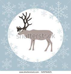 Christmas card reindeer blue, vector