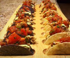 Mini Carnitas Tacos w/ Roasted Salsa & Avocado Crema