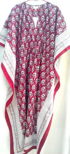 Boho Chic Rich Red Anokhi Hand block print Long Cotton Kaftan One Size