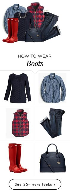 """""""Red Hunters"""" by mcsp on Polyvore featuring J.Crew, Fat Face, Lord & Taylor, Hunter, Oscar de la Renta, MICHAEL Michael Kors, women's clothing, women's fashion, women and female"""
