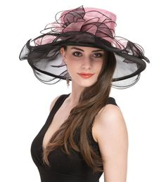 64235324 Amazon.com: Saferin Women's Kentucky Derby Wide Brim Wedding Church Racing  Tea Party Sun Hat (1-Black with Bowknot): Home Audio & Theater