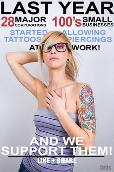 tattooed office workers oral fun