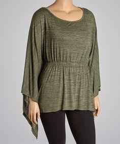 Look at this #zulilyfind! Olive Shirred Sidetail Top - Plus by CANARI #zulilyfinds