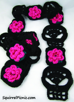 Squirrel Picnic Black Crochet Skull Scarf with Pink Rose. The Pattern Is Actually For The Sugar Skull, You Need To Add Your Own Hexagonal Flower Motifs. Love Crochet, Crochet Gifts, Diy Crochet, Crochet Scarves, Crochet Shawl, Sugar Candy Skulls, Scoodie, Crochet Skull Patterns, Scarf Patterns