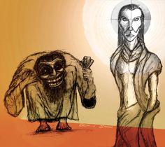 Nietzsche nahm in seinem Frühwerk zwei elementare Kräfte an: das Apollinische und das Dionysische... eine Illustration von Ben-j Saga (http://ben-j-saga.tumblr.com/) und ein Artikel von Philip Ohnruh: http://pregolifestyle.de/2013/12/stillstand-oder-wandel-das-ist-hier-die-frage/