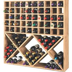Features: -Stronger with mahogany wood. -Grid and bin wine storage solution. Product Type: -Wine bottle rack. Material: -Wood. Wine Bottle Capacity: -100. Dimensions: Overall Height - Top to Bot