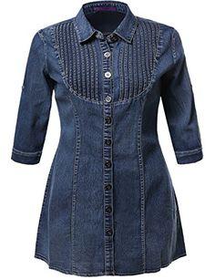 Denim Chambray Button Down Shirt Dress With Sleeves Blue Size Button Down Shirt Dress, Denim Shirt Dress, Look Jean, Estilo Jeans, Bathing Suit Dress, Blouses For Women, Jackets For Women, Kurta Neck Design, Stylish Dress Designs