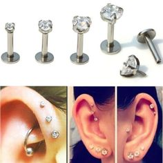 4Pcs 16G Lip Labret Ring Spike Cone Stud Piercing Silver