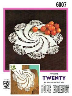 PDF Vintage Doily Crochet Pattern Twilleys Elegant Radiating 'SWIRLS' & Chair Back Floral, Snowflake, Lace, Heirloom, Victoriana Doily Patterns, Weaving Patterns, Vintage Patterns, Knitting Patterns, Crochet Patterns, Crochet Round, Knit Or Crochet, Crochet Motif, Crochet Doilies