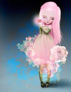 """Fine Art Print - """"Wild Rose"""" - Medium Size 8.5x11 or 8x10 Giclee - Little Wild Rose Garden Fairy Nymph - Flower Pixie By Jessica Grundy"""