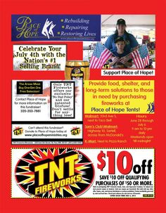 $10 OFF TNT Fireworks @ Place of Hope Tents