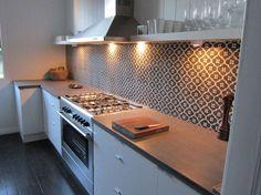 Moorish Night tile used as splashback Grey Kitchen Tiles, Kitchen Design, Kitchen Ideas, Kitchen And Kitchenette, Kitchen Appliances, Splashback Tiles, Backsplash, Encaustic Tile, Handmade Tiles
