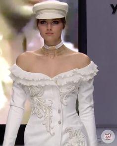 Fashion Walk, White Fashion, Runway Fashion, Bridal Outfits, Bridal Dresses, Wedding Gowns, Pretty Prom Dresses, Beautiful Dresses, Off Shoulder Wedding Dress
